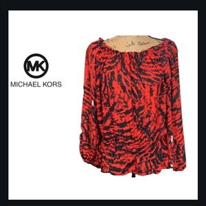 MICHAEL KORS Women's Red & Black Dress Blouse Top